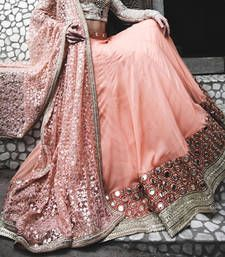 Buy Pink embroidered georgette semi-stitched lehenga bridal-lehenga online
