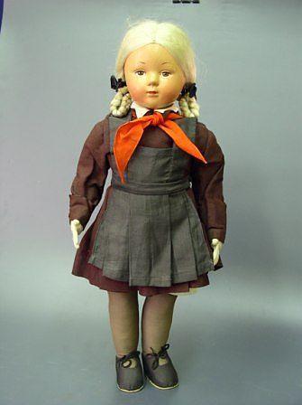 "..Кукла ""Школьница"" Артель им. 8 Марта, г.Москва 1947г."