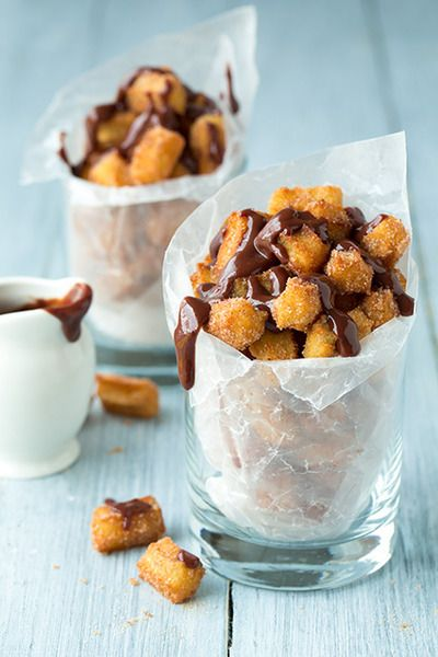 Churro Bites - 1/2 cup milk, 1/2 cup water, 3 Tbsp butter, diced, 2 tsp granulated sugar, 1/4 tsp + 1/8 tsp salt, 1/2 tsp vanilla extract, 1 cup all-purpose flour & vegetable oil, for frying ... Pin it for directions !!