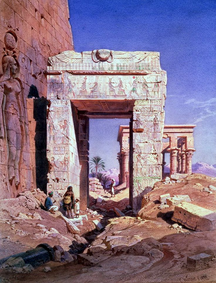 Doorway from Temple of Isis to temple called Bed of the Pharaohs, Island of Philae, Egypt (C19) by Carl Friedrich Heinrich Werner, 1808 - 1894 German artist. Watercolor on paper , 1865