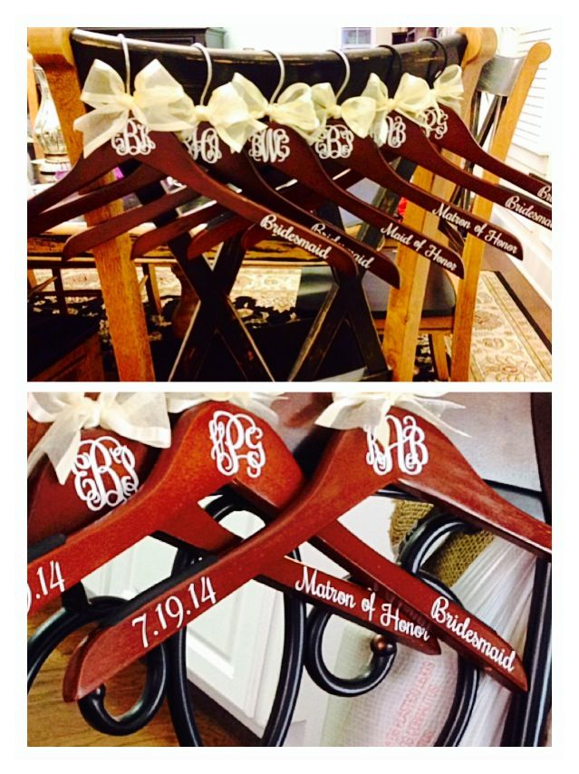 Bridesmaid gifts from bride I made. Clothes hanger with monogram initials, wedding date, and bridesmaid or maid of honor.