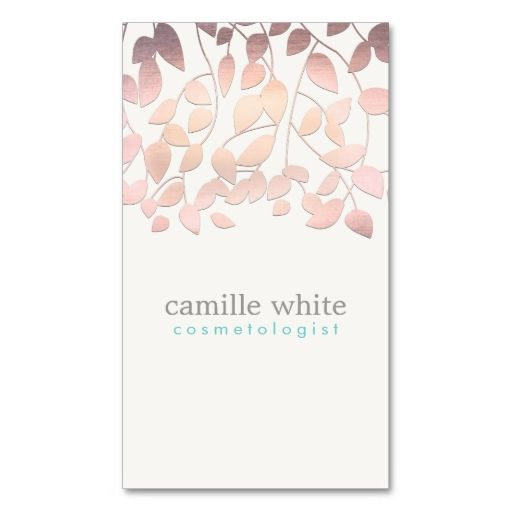 Cosmetology Blush Pink Leaves Beauty Salon and Spa Business Cards. This is a fully customizable business card and available on several paper types for your needs. You can upload your own image or use the image as is. Just click this template to get started!