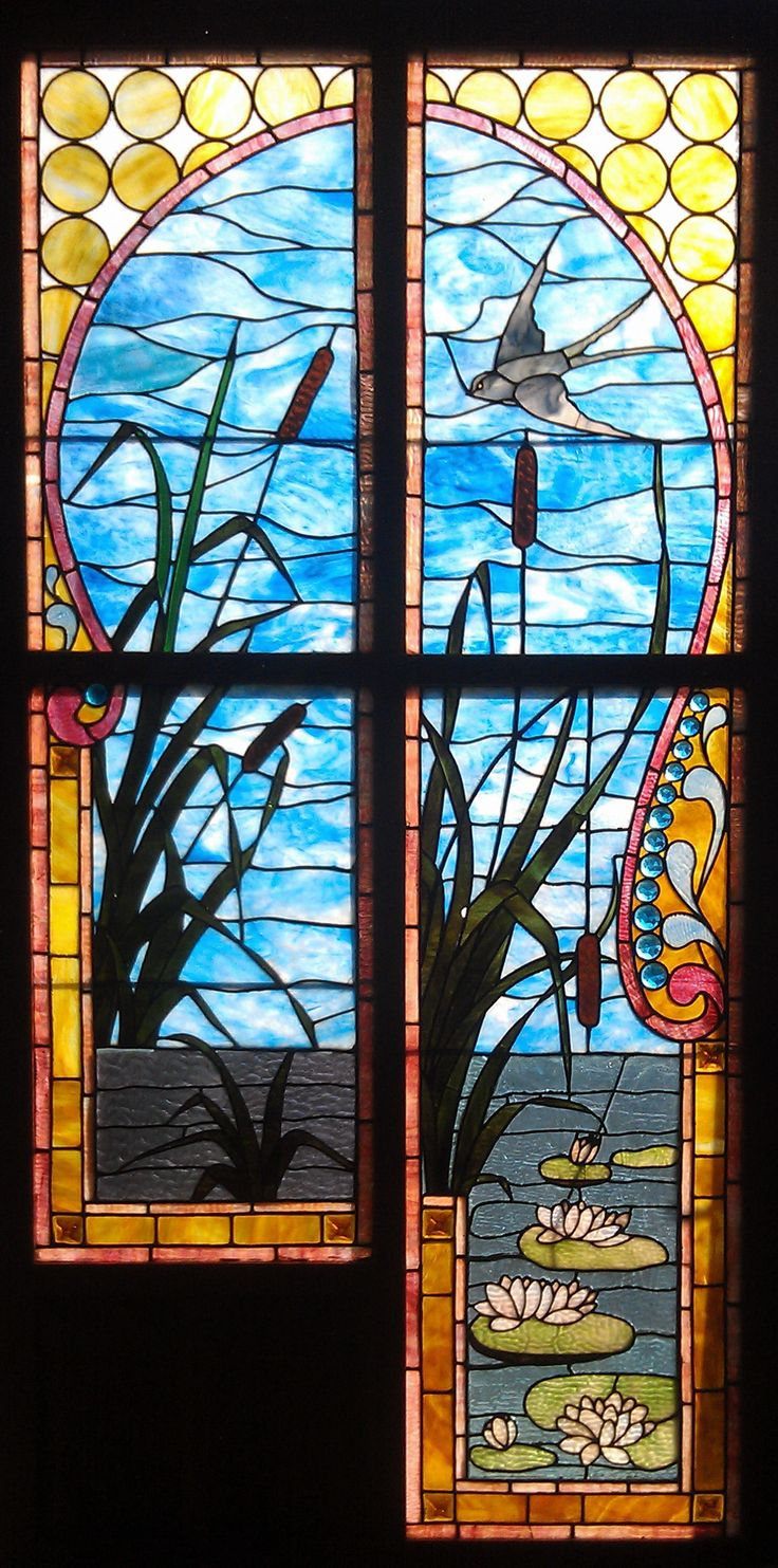 Franklin art glass studios inc clear cotswold glass 3 320 - 4 Panel Antique American Stained Jeweled And Plated Scenic Set Of Windows A Marvelous Aesthetic Influenced Set Of Panels With Bird Cattails And Water