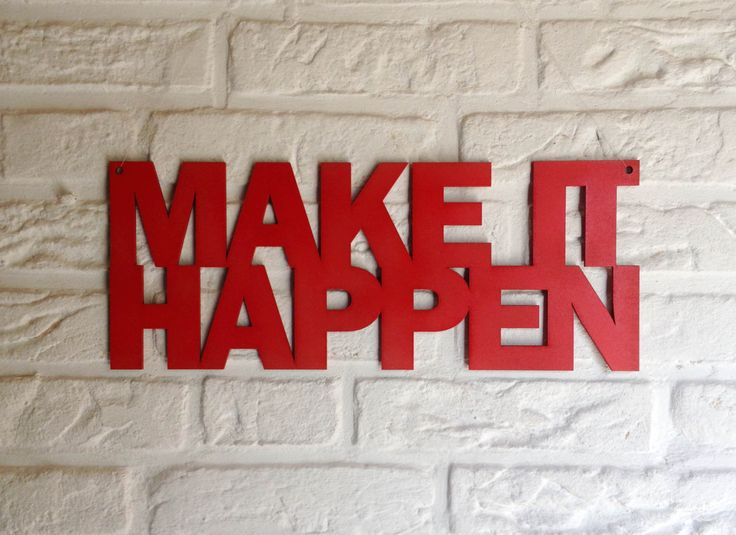 Make It Happen quote wall sign wood wall decor by Cut4you