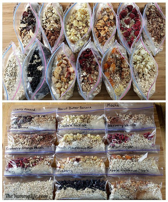 Healthy Instant Oatmeal Packets—for quick hot or refrigerator oatmeal. 12 easy, make-ahead recipes for grab-and-go.