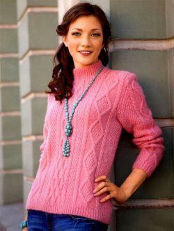 Jersey de cuello con muestra de rombos Talla: 40/42. http://tejidogratis.com/40-tejido-para-mujeres-agujas/jersey/809-jersey-de-cuello-con-muestra-de-rombos.html