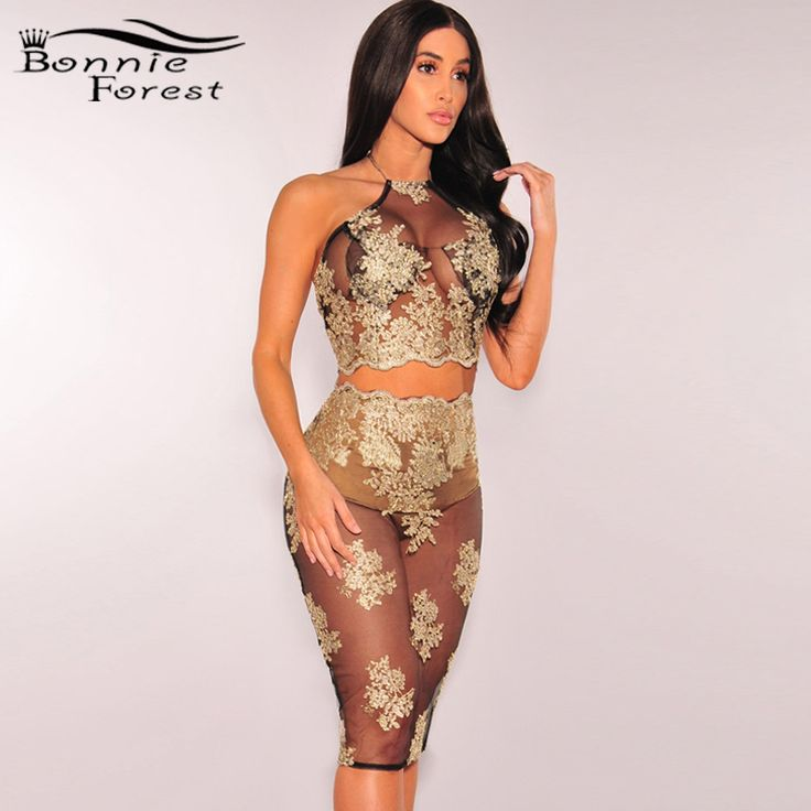 Aliexpress.com : Buy Bonnie Forest Sexy Black Gold Sheer Embroidered Two Piece Set Summer Womens Elegant Halter Lace Embroidery Party Dress Clubwear from Reliable party dresses suppliers on Bonnie Forest Store