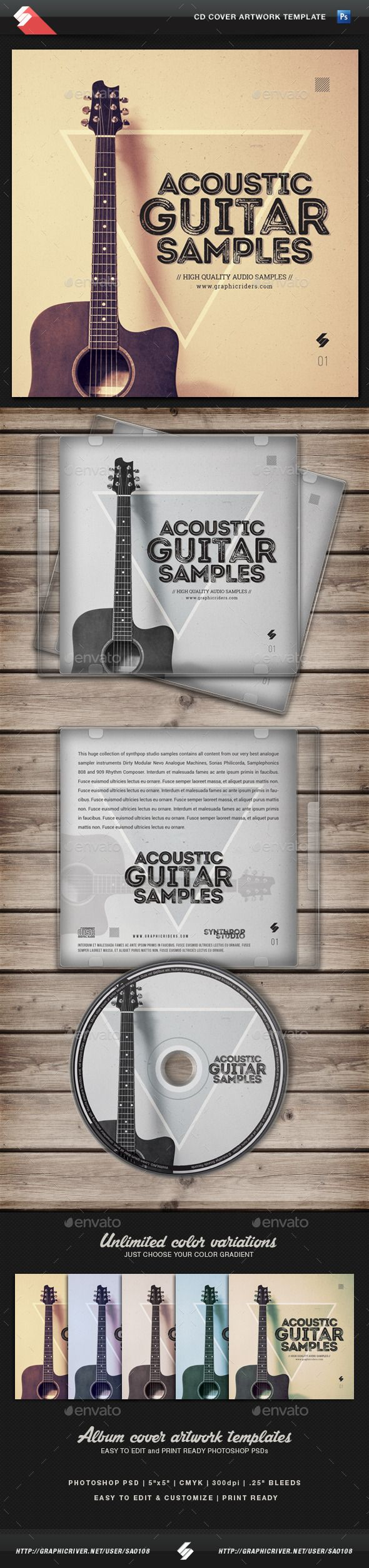Acoustic Guitar Samples - CD Cover Template PSD. Download here: http://graphicriver.net/item/acoustic-guitar-samples-cd-cover-template/13196826?ref=ksioks