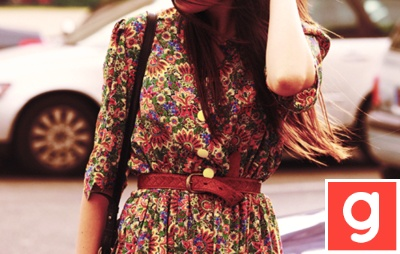 Floral and big belt