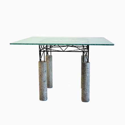 Italienischer Tisch Aus Beton Und Eisen Mit Glasplatte, 1980er Jetzt  Bestellen Unter: Https://moebel.ladendirekt.de/kueche Und Esszimmer/tische/esstische/?  ...