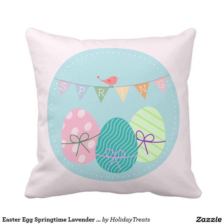Easter Egg Springtime Lavender Blush Throw Pillow