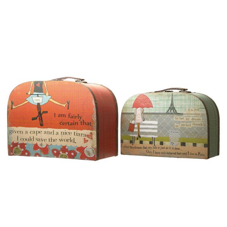 Maletas de Cartão : Maletas em madeira forrada - pequena