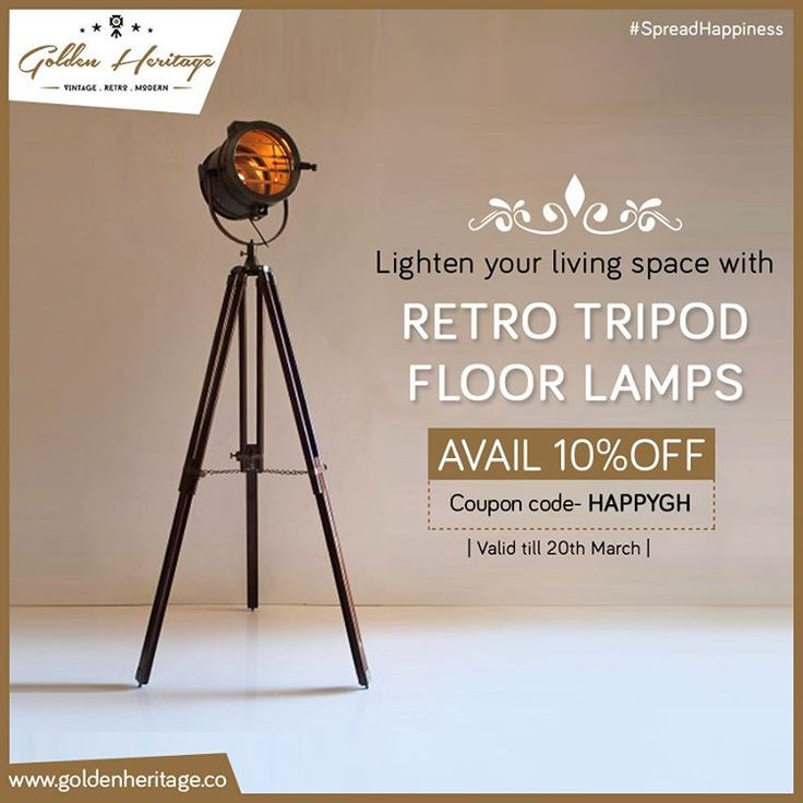 These tripod floor lamps will brighten your living room giving it an intricate look. Get 10% off, use coupon code HAPPYGH.  #GoldenHeritage #KeepingHistoryAlive #vintage #retro #modern
