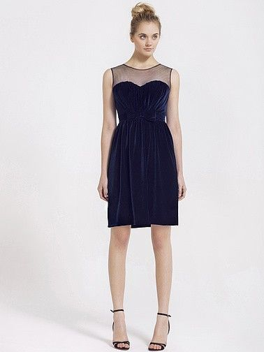 Velvet Bridesmaid Dress with Illusion Neckline   Plus and Petite sizes available! Hundreds of styles, tons of colors!