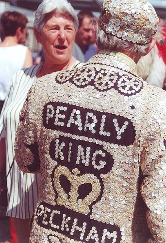 #Peckham Pearly King London Pearlies - According to legend, it began when a Japanese ship carrying a cargo of pearl buttons floundered in the Thames. The buttons washed up on the banks and were gathered by locals who stitched them to their clothes.