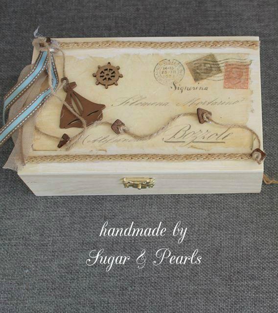 Κουτί μαρτυρικών με ντεκουπάζ ''Travelling around the world'' http://sugar-and-pearls.blogspot.gr/2014/09/vaptisi-gamos-new-collection.html