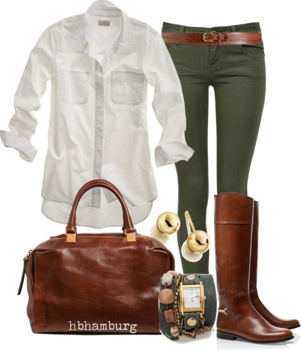 White oxford, green skinny jeans, classic riding boots, brown leather satchel bag, gold accented jewelry.