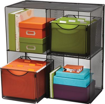 $98.00 Safco® Oynx Mesh Cube Storage Organizer, 4 Compartments Item: 779079    Model: 2172BL