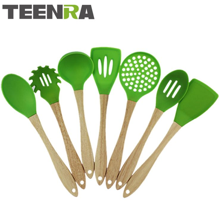 TEENRA 7Pcs Green Wood Handle Silicone Kitchen Utensils Set Silicone Kitchen Tools Set Non-stick Cooking Spoon Spatula Scoope #Affiliate