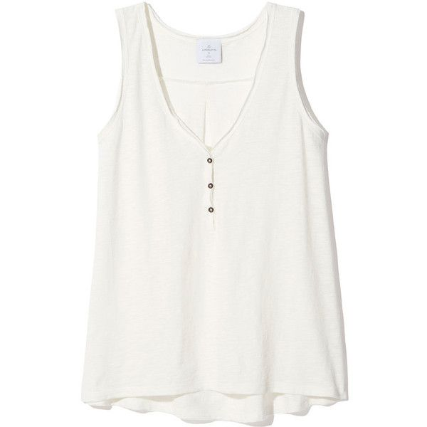 Nouvelle V-Scoop Tank ❤ liked on Polyvore featuring tops, tanks, shirts, tank tops, white henley shirt, button up shirts, v-neck shirt, cotton tank tops and cotton button down shirts