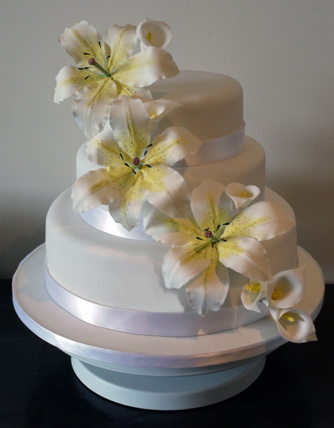 3 tier lily wedding cake made to celebrate my marriage