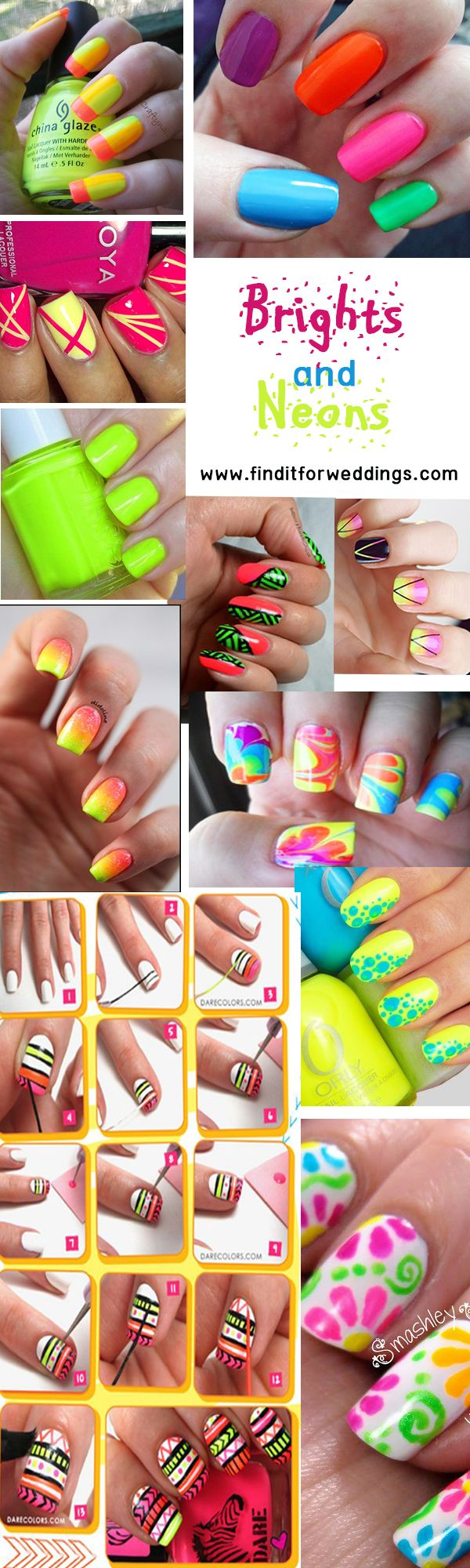 Bright #nails neon nail art nail designs nail art ideas www.finditforweddings.com