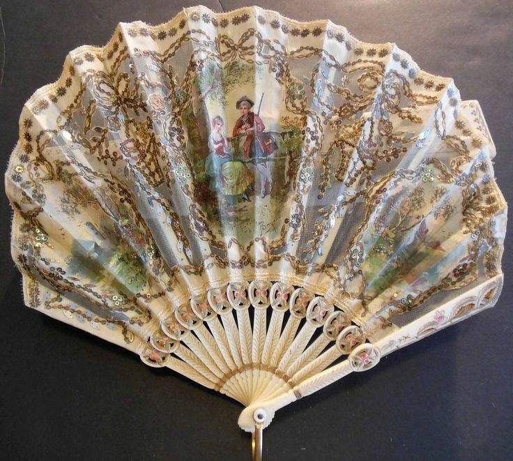 French Hand Held Fan Hand Painted & Signed by Artist Carved Bone Faux Ivory VC29 #Victorian