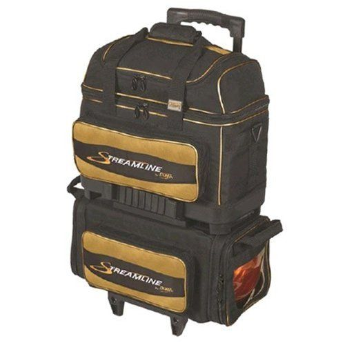 Storm Streamline 4 Ball Roller Bowling Bag- Black/Gold by Storm. $167.95. 600 Denier Polyvinyl FabricSide Loading Base with Transparent Windows for Easy Access to EquipmentDetachable 2-Ball Deluxe Bag with Adjustable Non-Slip Shoulder StrapHeavy Duty Construction for Added SupportForged Steel AxleReinforced Zippers and StitchingTwo Color Embroidered Logos(3) Large 4 inch Rubber Wheels for Increased Mobility and StabilityAmple Storage Compartment...