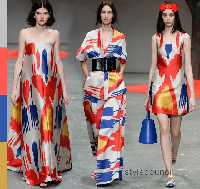 Style Council : Trend Report: Blocks of Color : Osman used bold shades of blue, yellow and red-orange to make these oversized ikat prints stand out on the runway.