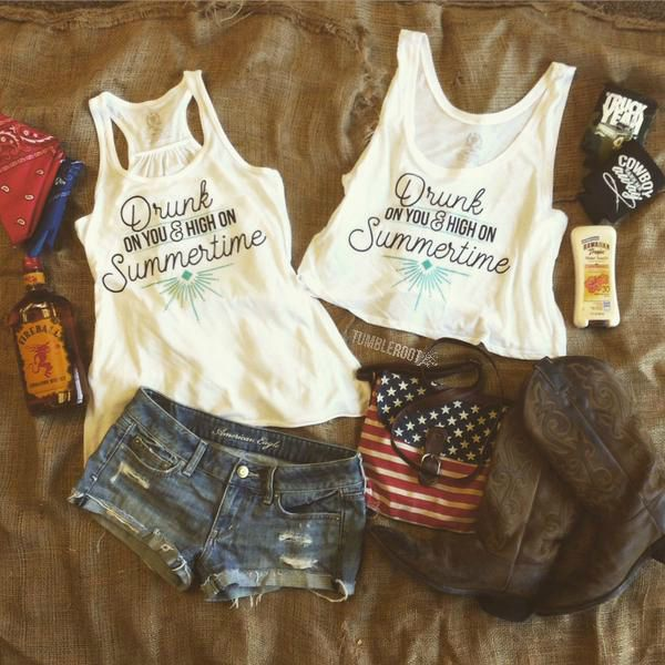 Drunk on You tank top and crop top featuring summer country outfit essentials by TumbleRoot. Perfect for every country music festival and concert like Stagecoach, CMA Fest, Faster Horses, and Boots and Hearts. // tumbleroot.com