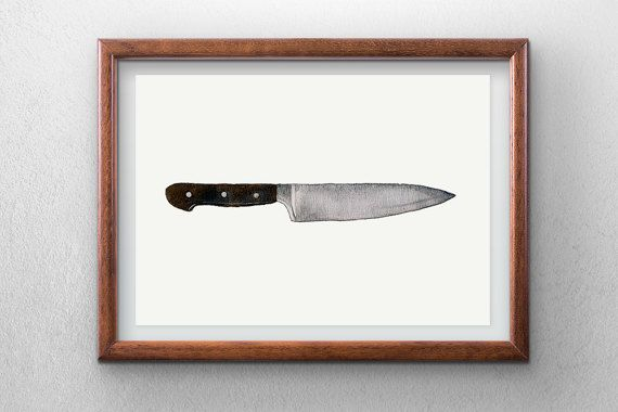 Knife  watercolor painting  instant digital download  by Penfood