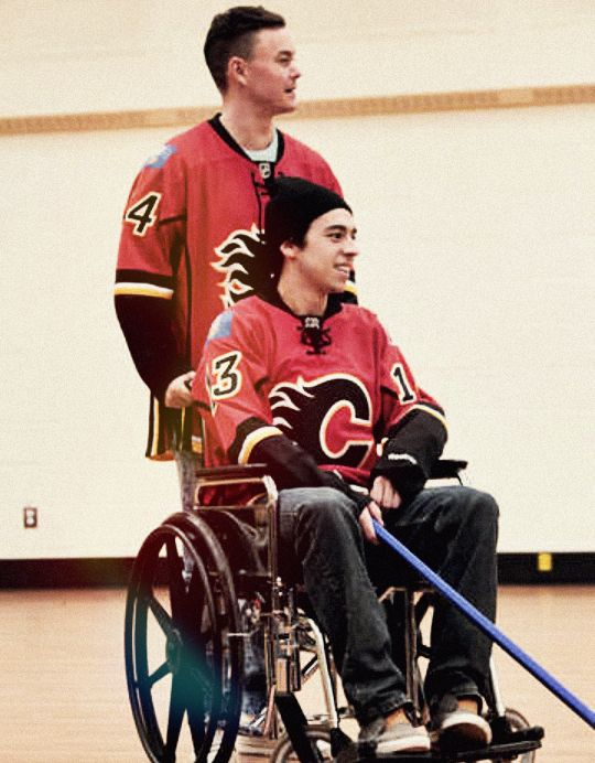 Jiri Hudler and Johnny Gaudreau at the annual wheelchair match against the Townsend Tigers