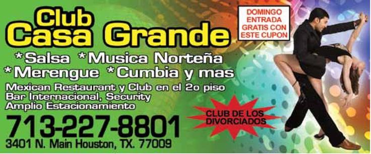 Club Casa Grande te ofrece el mejor ambiente con la mejor musica: Merengue, Salsa, Norteña, Cumbia y mas! Ven a divertirte con nosotros!!