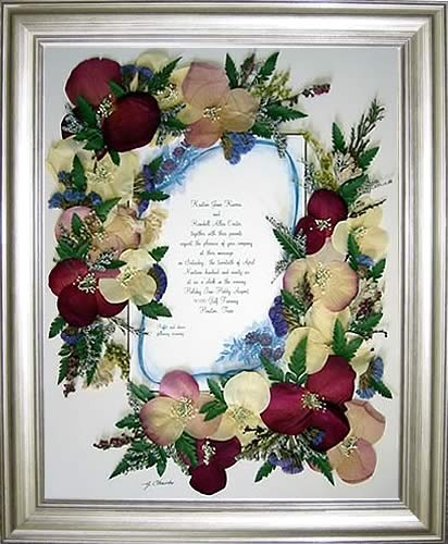 press your wedding flowers into a frame around your vows.