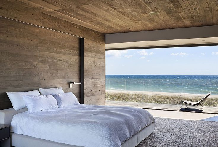 Cozy modern bedroom with a view of the Atlantic