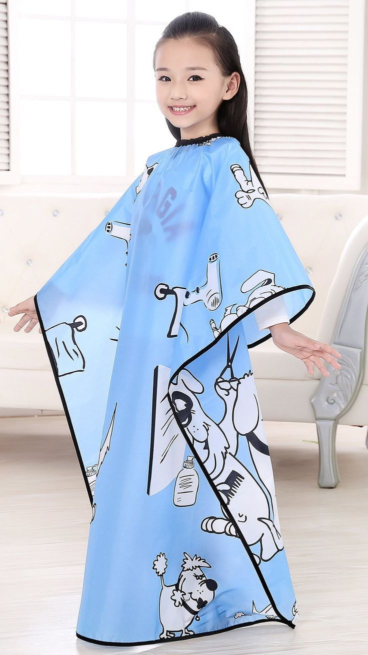 Kids Haircut Salon Cape, Hair Cutting Cape For Kid cloth, Child Shampoo Waterproof Capes 52'X 37' (Blue) ** Want to know more, click on the image. #hairhealth