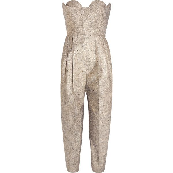DELPOZOStrapless Metallic Tweed Jumpsuit (185.505 RUB) via Polyvore featuring jumpsuits, metallic, jump suit, strapless jumpsuit, strapless pleated jumpsuit, metallic jumpsuit и brown jumpsuit