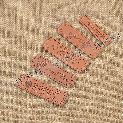 New PU Leather Labels Tag Handmade Sewing Craft DIY 5PCS Daisy Pin Free Shipping