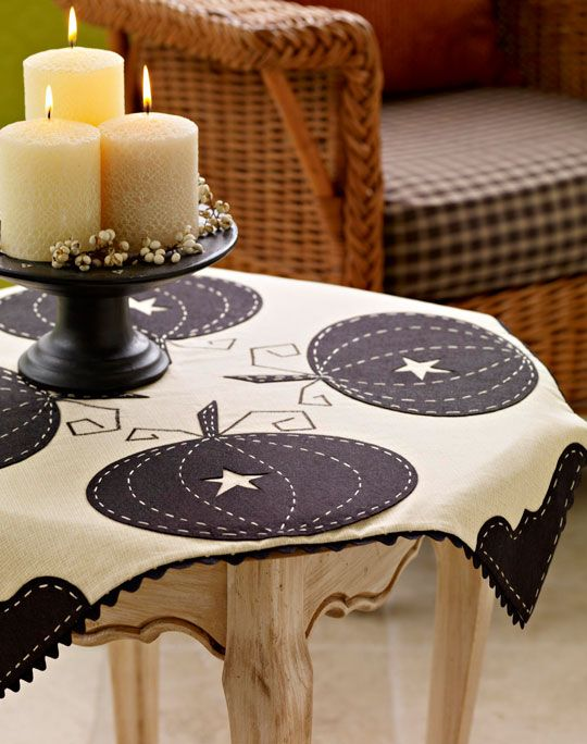 black and off-white pumpkin tablecloth.  And ric-rac!