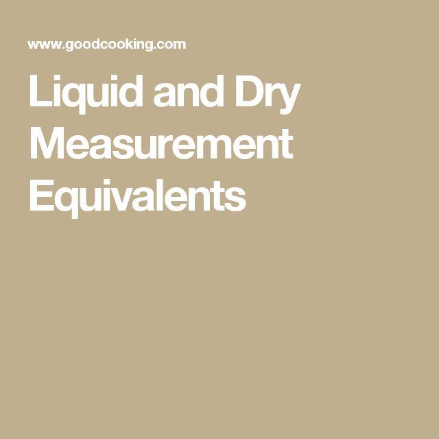 Liquid and Dry Measurement Equivalents