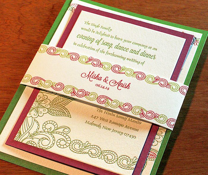 Floral paisley Indian wedding invitation with matching sangeet card and monogrammed belly band complete with second paper layers to match the inks.  | Invitations by Ajalon | invitationsbyajalon.com