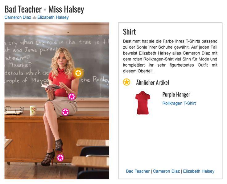 Bestimmt hat sie die Farbe ihres T-Shirts passend zu der Sohle ihrer Schuhe gewählt. Auf jeden Fall beweist Elizabeth Halsey alias Cameron Diaz mit dem roten Rollkragen-Shirt viel Sinn für Mode und komplettiert ihr sehr figurbetontes Outfit mit diesem Oberteil.