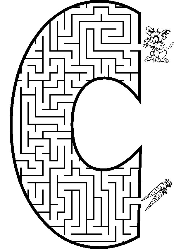 Letter C shaped maze from PrintActivities.com