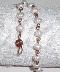μαργαριταρια δεμενα με χαλκο σφυρηλατο - margaritaria pearl with wrought copper