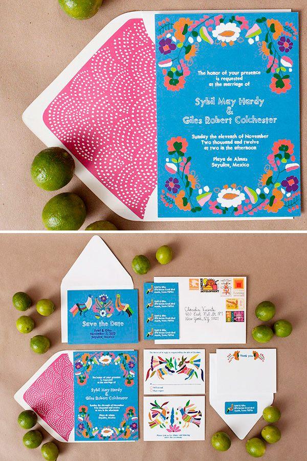 Invitacion de boda estilo mexicano inspiración Otomí