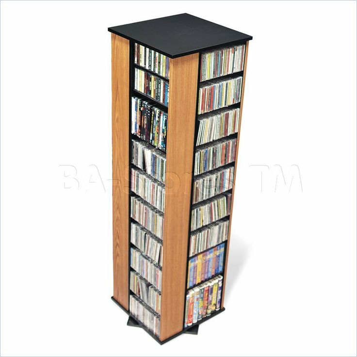 Prepac Large 4 Sided CD DVD Spinning Media Storage Tower In Oak And Black