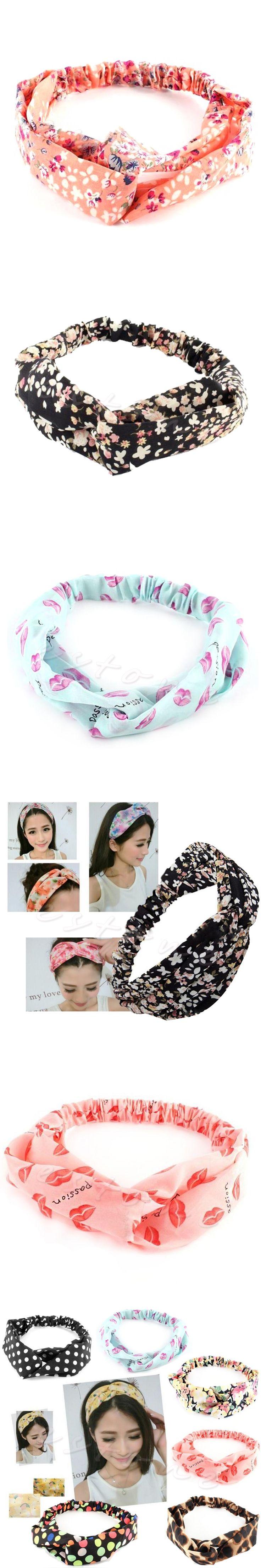 2017 korea style Women Cotton Turban Twist Knot elastic Head Wrap Headband floral print Twisted Knotted Hair Band woman headwear