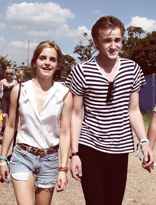 Emma Watson and Tom Felton. I love this picture. Tom was Emma's first crush- aww I can't blame her ;)