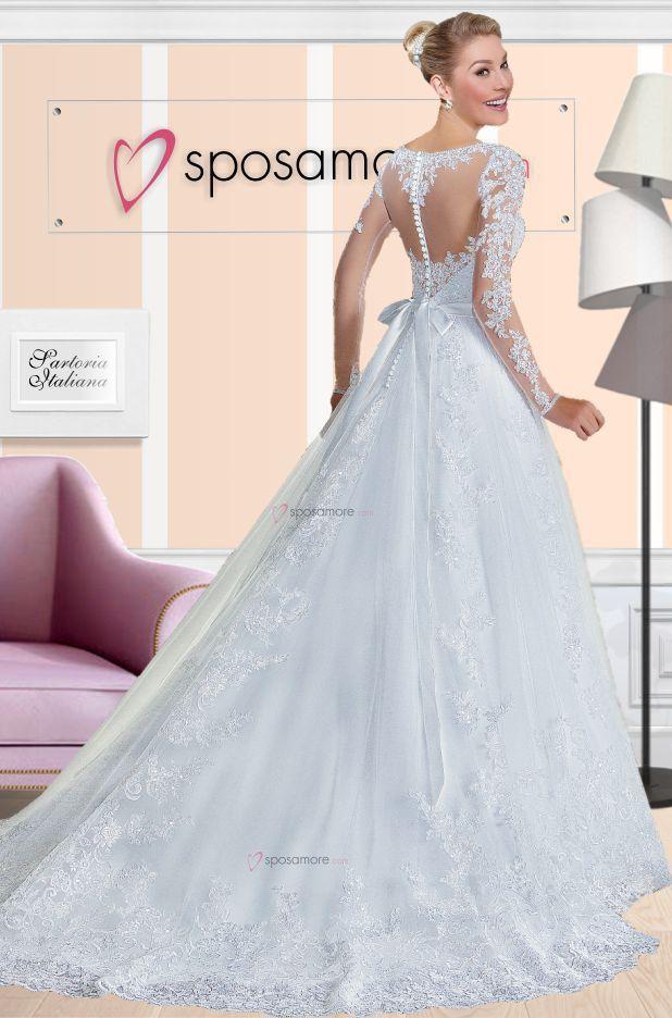 Brigitta - Abito da sposa principessa invernale, con maniche lunghe, schiena  transparenti