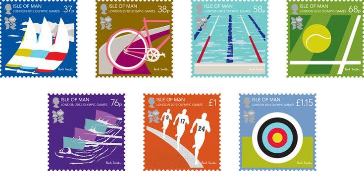 Timbres Ile de Man - Jeux Olympiques de Londres 2012 (voile, cyclisme, natation, tennis, aviron, athlétisme, tir à l'arc) ©Postes Ile de Man, DR.